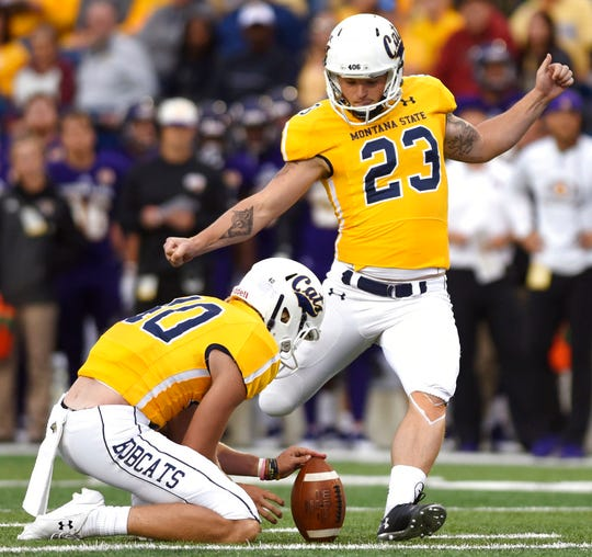 Montana State kicker Tristan Bailey prepares to kick a field goal against Western Illinois during an NCAA college football game at Bobcat Stadium, Thursday, Aug. 30, 2018, in Bozeman, Mont.