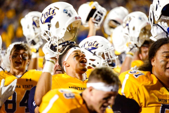 Montana State Bobcats kicker Jacob Byrne, center, celebrates their win over Western Illinois during an NCAA college football game at Bobcat Stadium Thursday, Aug. 30, 2018, in Bozeman, Mont.