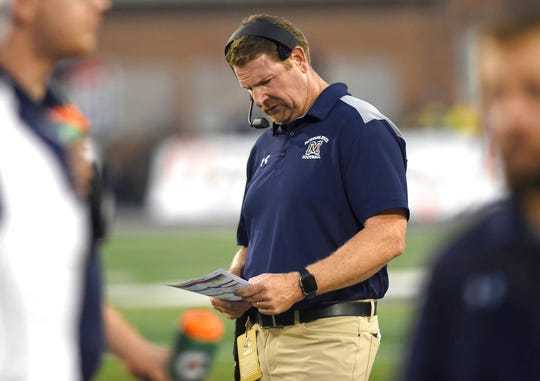 Montana State head coach Jeff Choate plans his next play against Western Illinois during an NCAA college football game at Bobcat Stadium on Thursday, Aug. 30, 2018, in Bozeman, Mont.