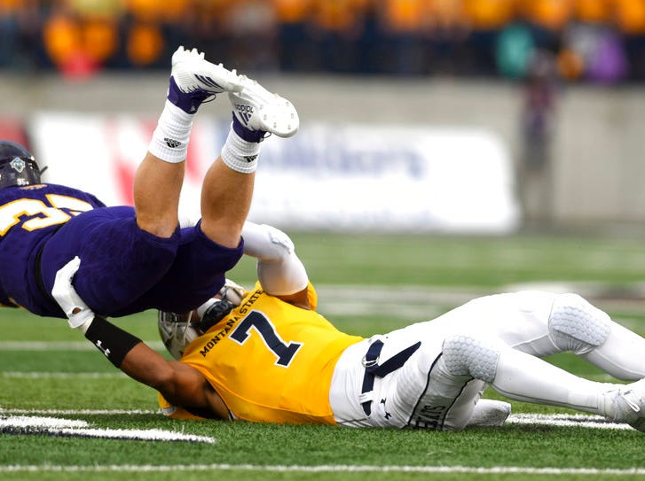 Montana State safety JoJo Henderson takes down Western Illinois' Max Norris during an NCAA college football game at Bobcat Stadium Thursday, Aug. 30, 2018, in Bozeman, Mont.