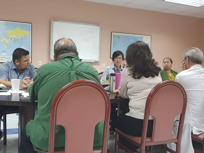 Guam Memorial Hospital Board Trustee Sharon Davis speaks to GMH management during a board meeting on Aug. 30, 2018.
