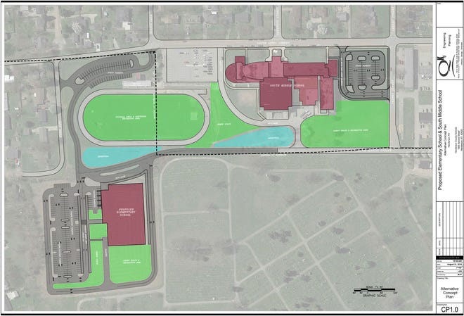 Proposed layout of new Jefferson Elementary campus, adjacent to South Middle School