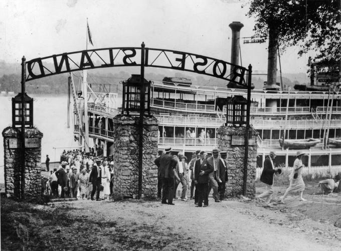 "Excursioners troop from the steamer, ""America"", at the Rose Island landing in 1926"