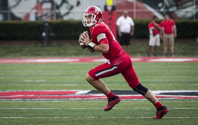 FILE -- Ball State's Riley Neal looks to pass against Tennessee Tech on Sept. 16 at Scheumann Stadium. Ball State won the game 28-13.