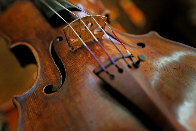 This is a detail of the 1683 Stradivarius violin owned by the International Violin Competition of Indianapolis on April 17, 2018.  Tessa Lark, the Silver Medalist in the 9th Quadrennial International Violin Competition of Indianapolis, in 2014, has had a four-year usage loan of the incredible violin.