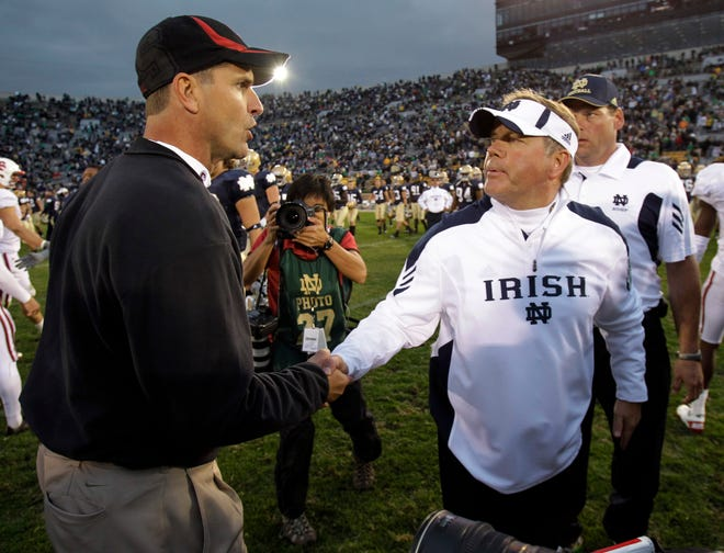 Jim Harbaugh (then with Stanford) and Notre Dame's Brian Kelly met in South Bend in 2010. Harbaugh's Stanford team won 37-14.