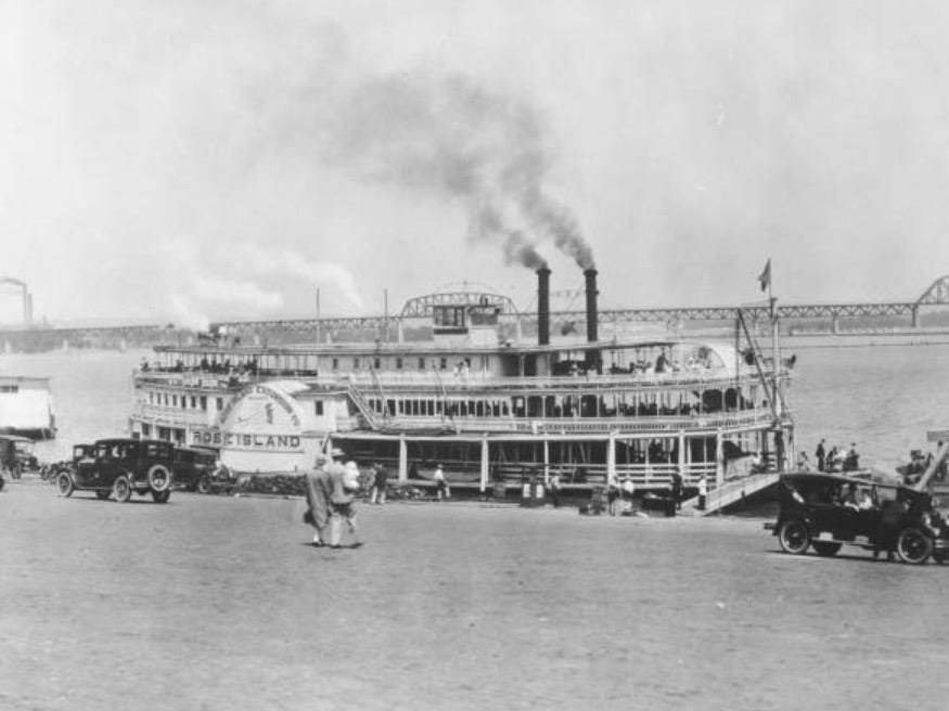A steamer from Louisville bound for the Rose Island Amusement Park in Charlestown.