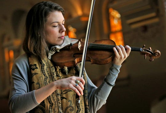 Tessa Lark plays a 1683 Stradivarius violin on April 17, 2018.  She was the Silver Medalist in the 9th Quadrennial International Violin Competition of Indianapolis, in 2014, and she was awarded the four-year usage of the violin.