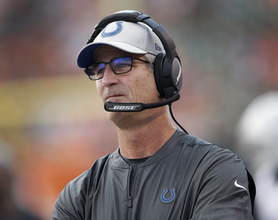 Indianapolis Colts head coach Frank Reich in the first half of their preseason football game at Paul Brown Stadium in Cincinnati, OH. on Thursday, Aug. 30, 2018.