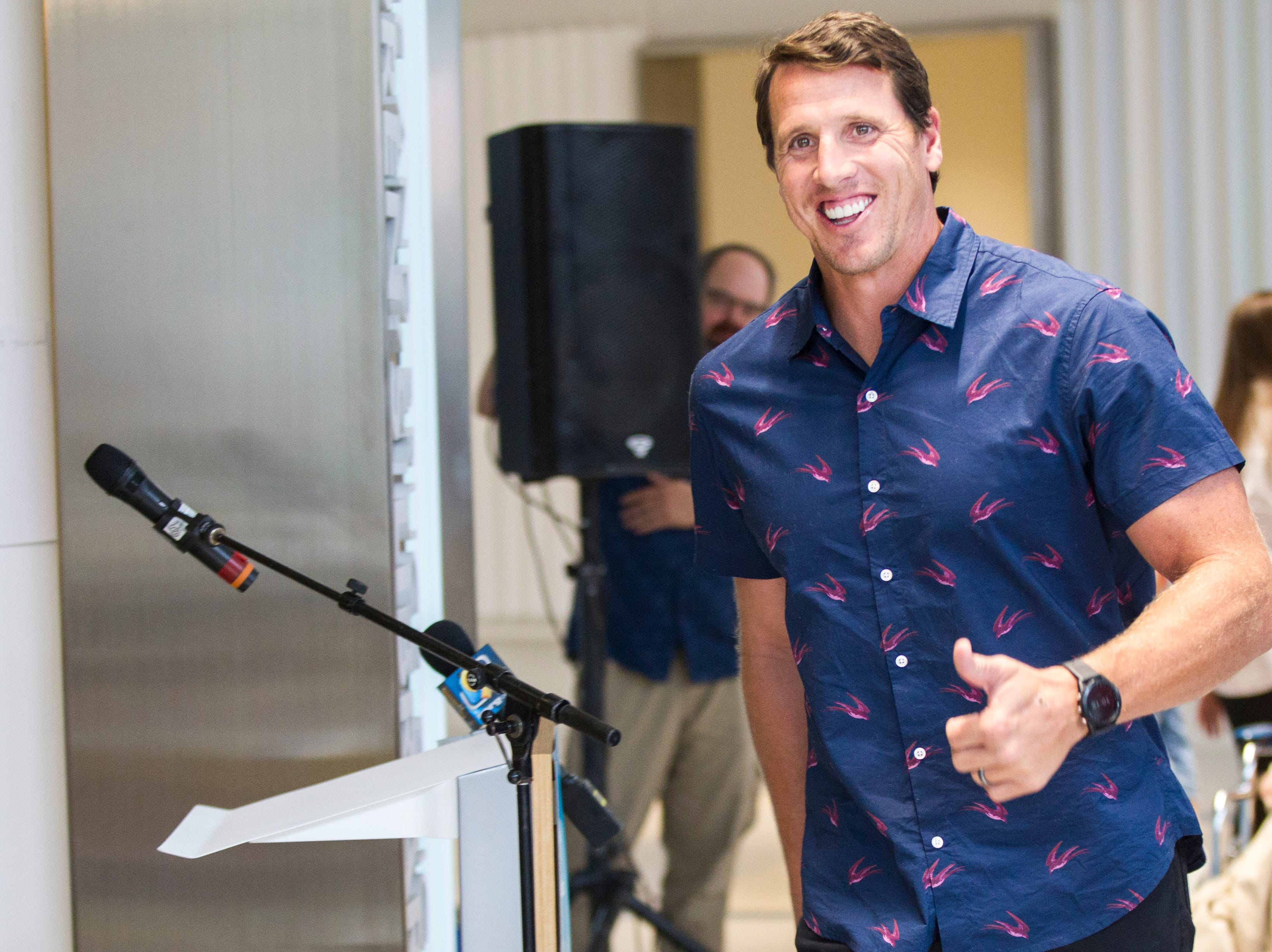Chad Greenway, former Iowa and Minnesota Vikings football player, smiles while walking to a podium during a ribbon cutting event on Friday, Aug. 31, 2018, at the University of Iowa Stead Family Children's Hospital in Iowa City. Greenway's Lead the Way Foundation contributed a cart of electronics and games for families and patients at the hospital.