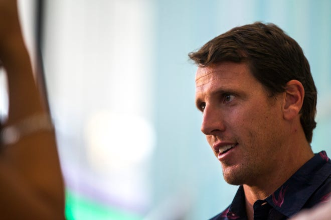 Chad Greenway, former Iowa and Minnesota Vikings football player, speaks with reporters during a ribbon cutting event on Friday, Aug. 31, 2018, at the University of Iowa Stead Family Children's Hospital in Iowa City. Greenway's Lead the Way Foundation contributed a cart of electronics and games for families and patients at the hospital.