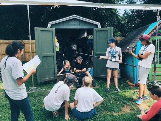 """Jackson Christian student Orchee Sorker, far left, helps produce a key scene in the film """"Concrete Joy"""" while attending the Governor's School for the Arts in June."""