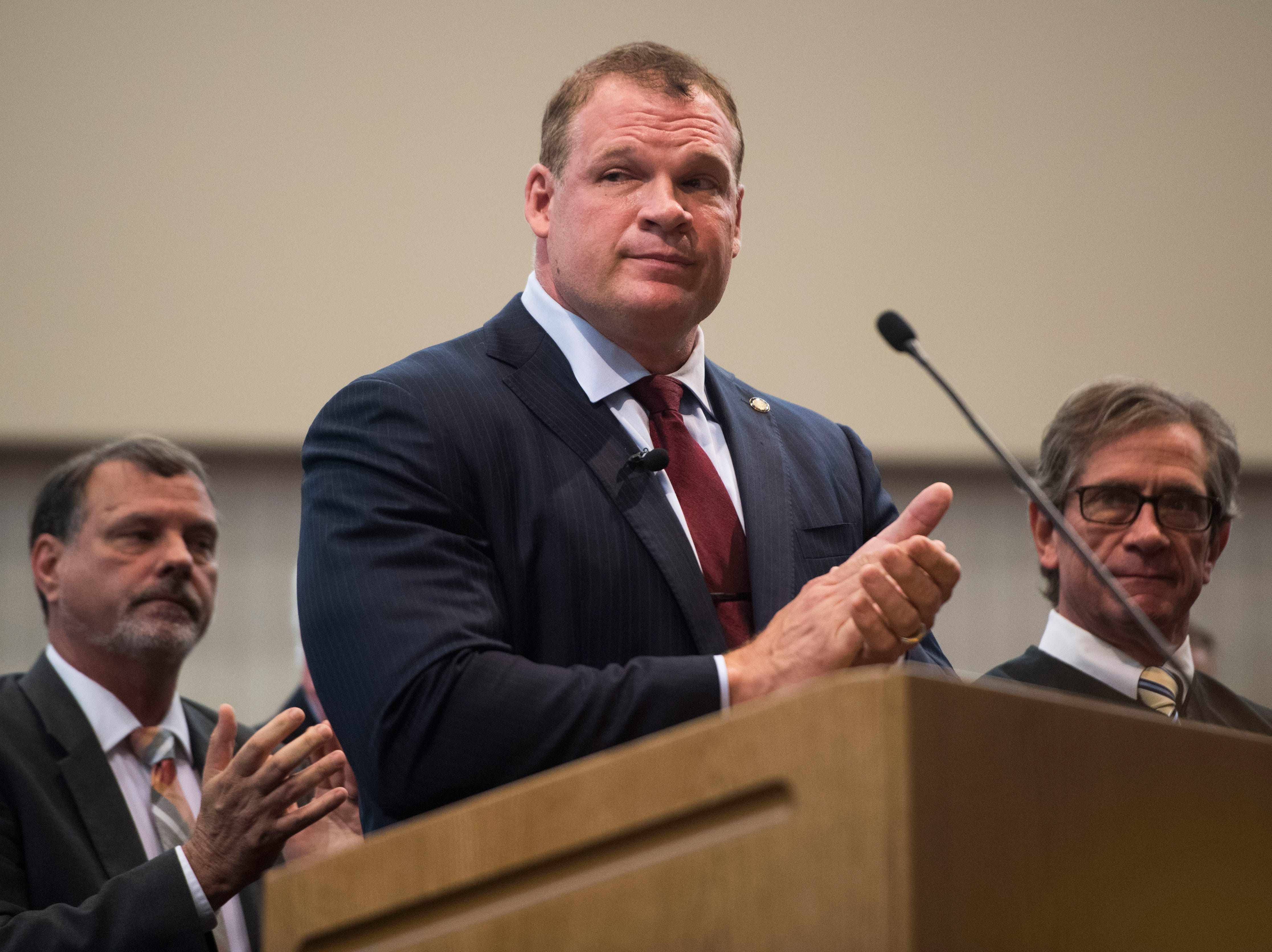 New Knox County Mayor Glenn Jacobs speaks in the Main Assembly Room of the City County Building Friday Aug. 31, 2018.