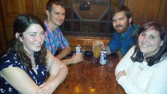 Jessica Crowder, Brian DAnnewitz, Josh Burnett and Kim Bradford, from left, on a night at Sassy Ann's.