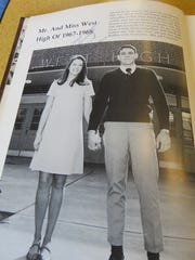 Yearbook photo of Mr. and Miss West High 1968 — Darrell Smith and Candace Birdwell (Crum).