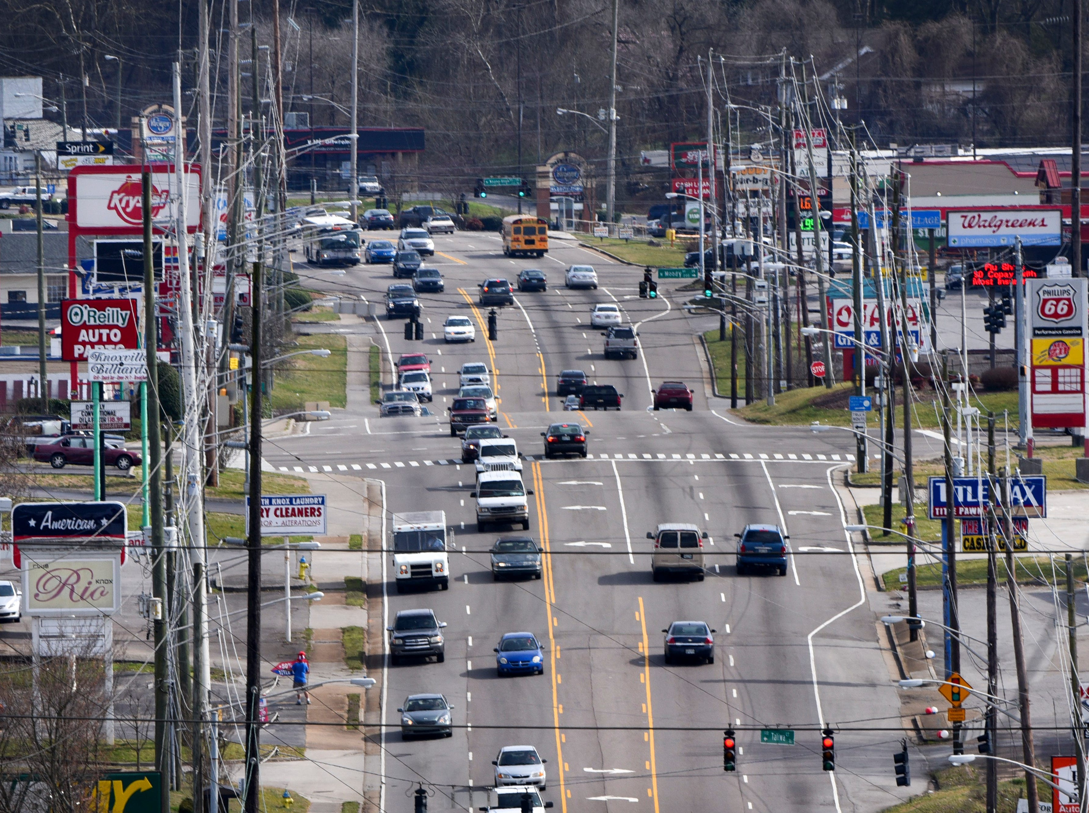Chapman Highway is pictured looking south at the Moody Avenue intersection Thursday, Mar. 10, 2016. According to State officials without construction of the James White Parkway extension any attempts to address safety and traffic issues on Chapman Highway would be inefficient and too costly.   (MICHAEL PATRICK/NEWS SENTINEL)