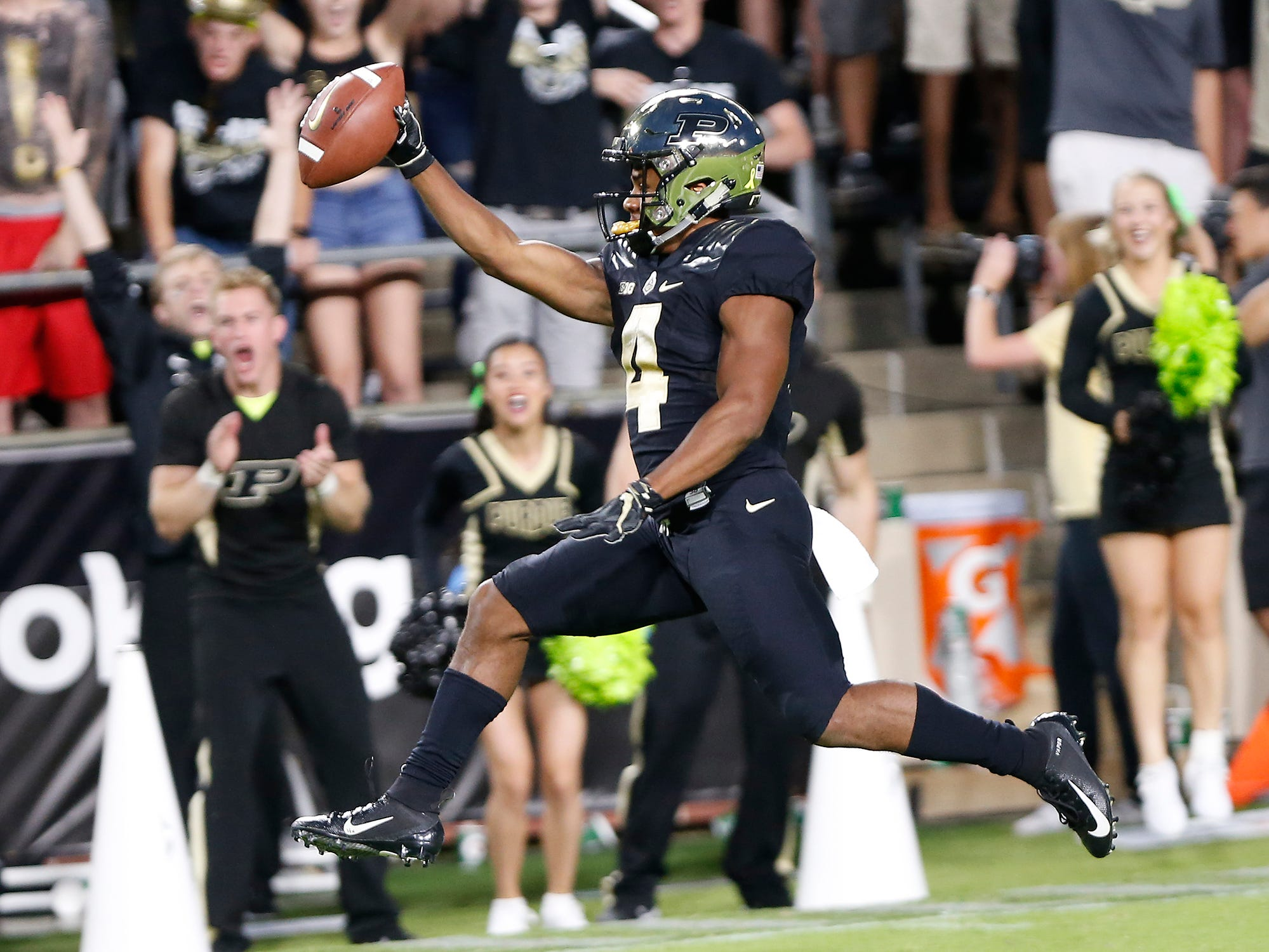 Rondale Moore races to the endzone for a touchdown at 4:20 in the first quarter against Northwestern Thursday, August 30, 2018, in West Lafayette. Purdue trailed Northwestern 14-7 after Moore's score.