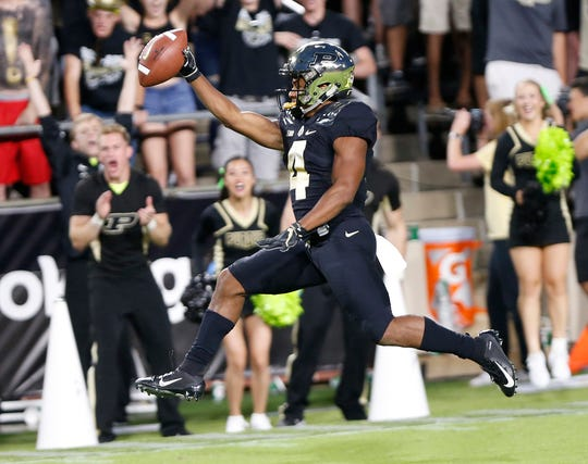 Purdue's Rondale Moore races to the end zone for a touchdown against Northwestern.