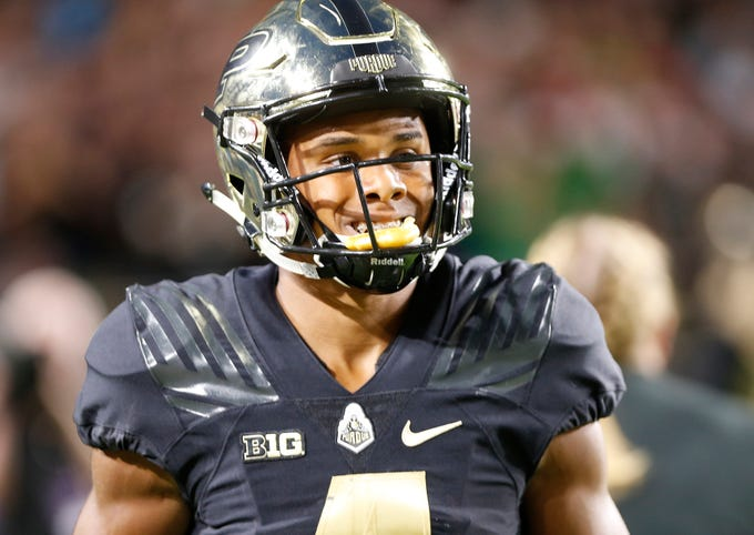 Rondale Moore of Purdue is all smiles after rushing for a 76-yard touchdown at 1:02 against Northwestern Thursday, August 30, 2018, in West Lafayette. Moore's score tied the game at 14-14.