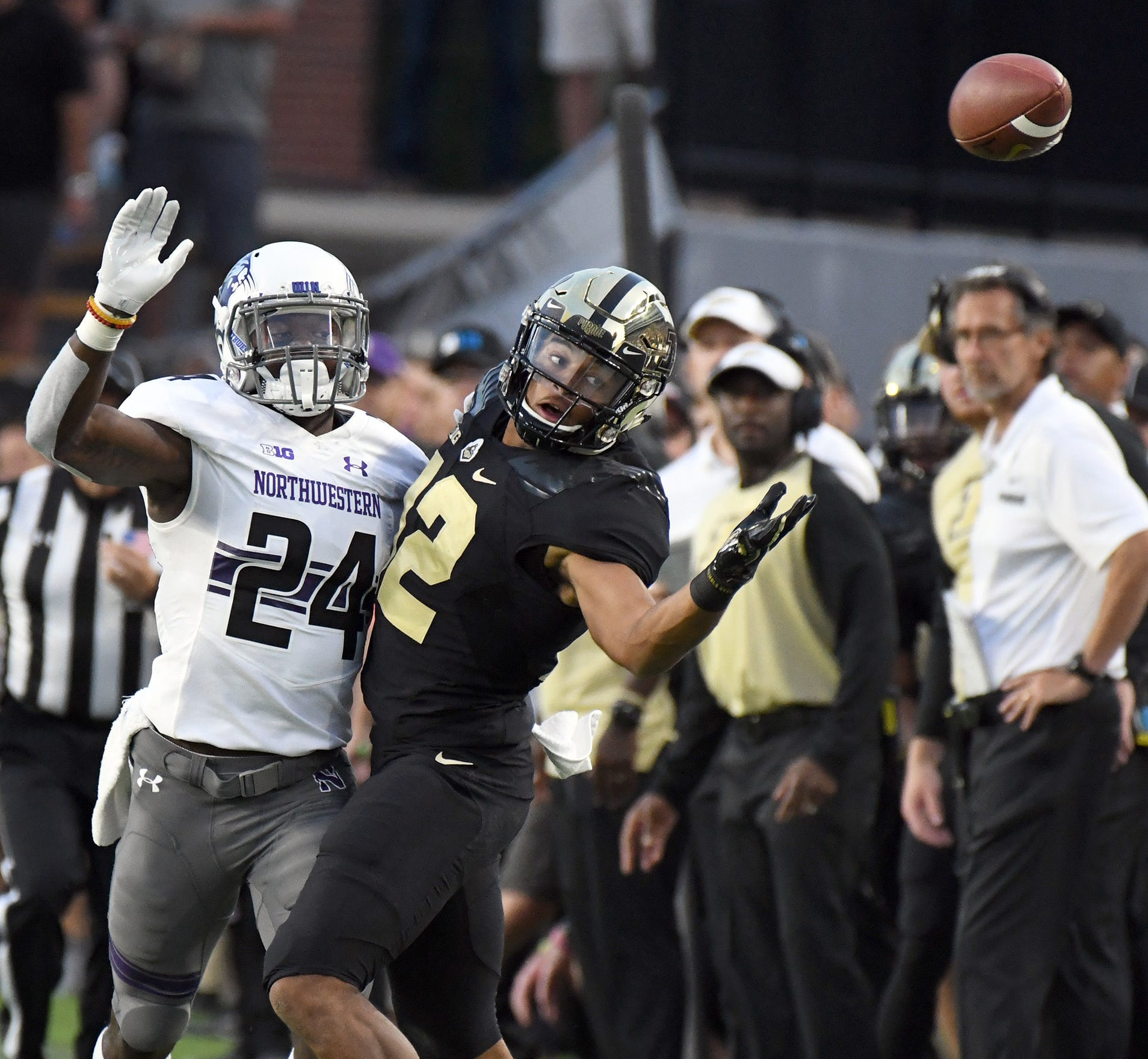 Purdue's Jared Sparks misses a catch in the Boilermakers 31-27 loss on Thursday August 30, 2018 to Northwestern in West Lafayette.