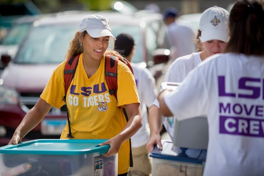 Students move in to residences at Louisiana State University on Aug. 12 for the fall 2018 semester.
