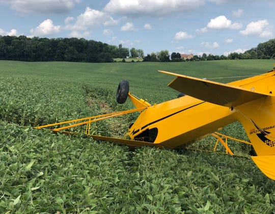 A single engine airplane crashed while attempting to make an emergency landing Friday afternoon, Aug. 31, 2018, in Hocking Township. The pilot was the only person aboard the plane, and he was not injured.