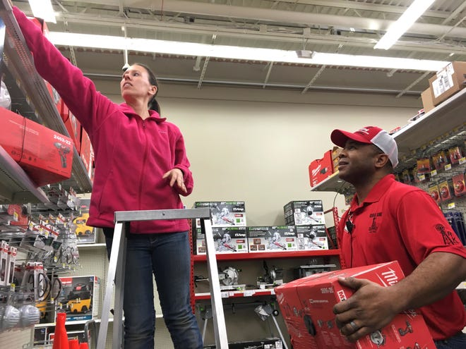 """Hartland Township is challenging retailer Rural King Supply's efforts to pay less taxes by taking advantage of what is known as the """"dark stores"""" loophole. Rural King employees Yolanda Braunscheidel are shown here in March 2017."""
