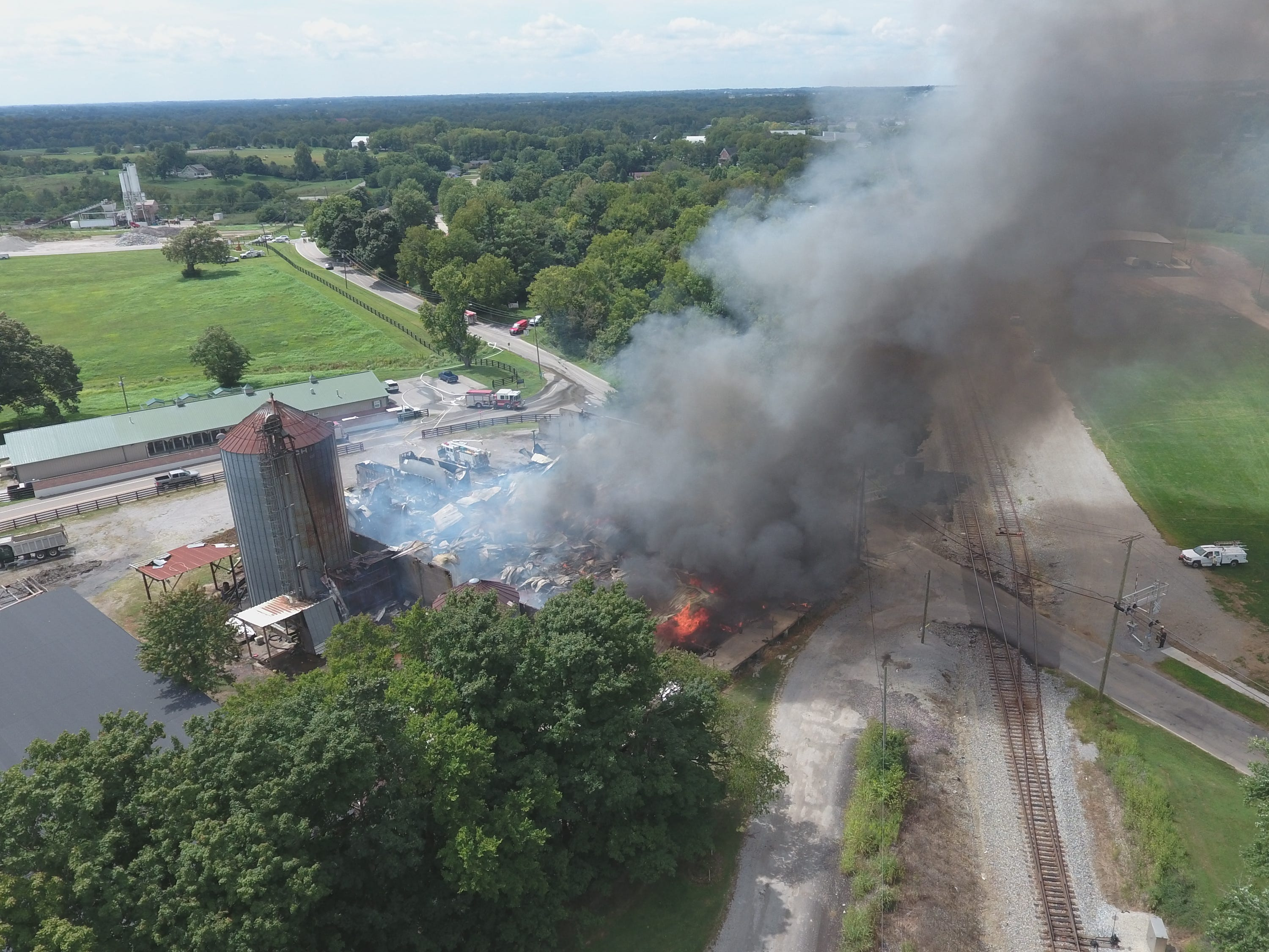 Drone footage by Timothy Babb captures the damage to the vacant former Tapp's Feed Store in Shelbyville.