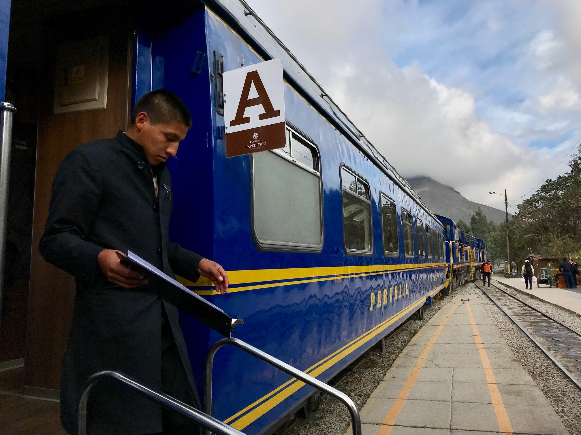 Boarding the train to Machu Picchu