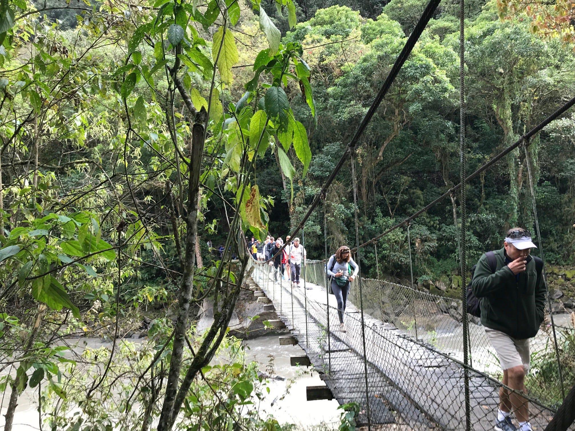 Crossing a bridge on the Inca Trail