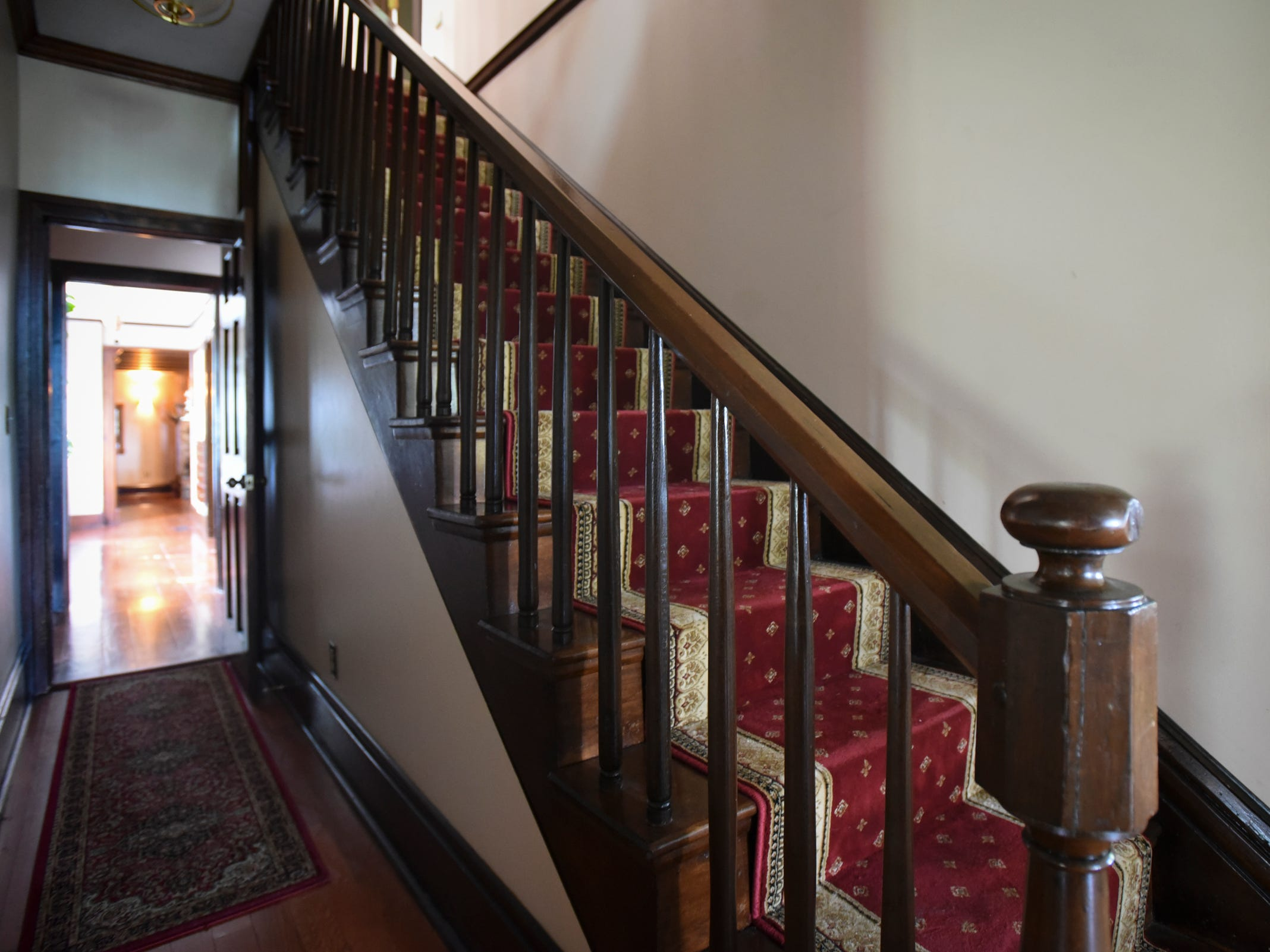 The staircase and a hallway in the historic Shaft homestead in Shaftsburg.  The five bedroom farmhouse  was built in 1846.