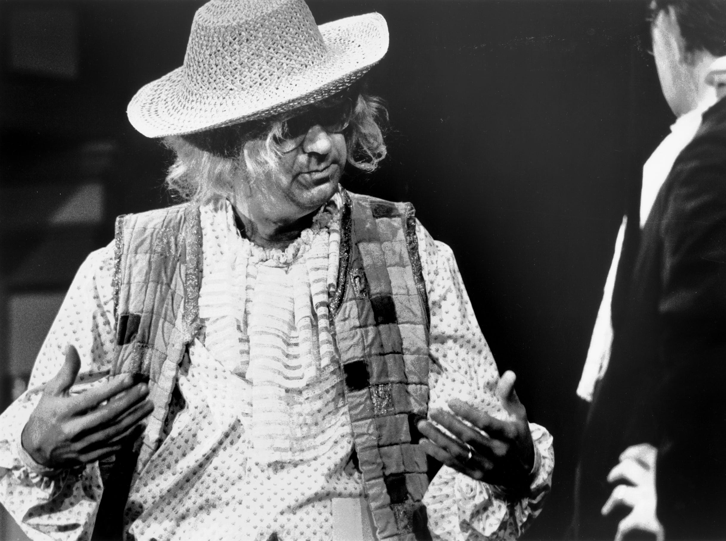"Mayor Dick Hackett (left) practices for his part in a benefit for Playhouse On The Square in December 1987. The mayor plays the part of Thibaut and appears with Ron Terry (not pictured), who plays Hackett's son in the play ""A Doctor in Spite of Himself."" Terry is chief financial officer of First Tennessee Bank."