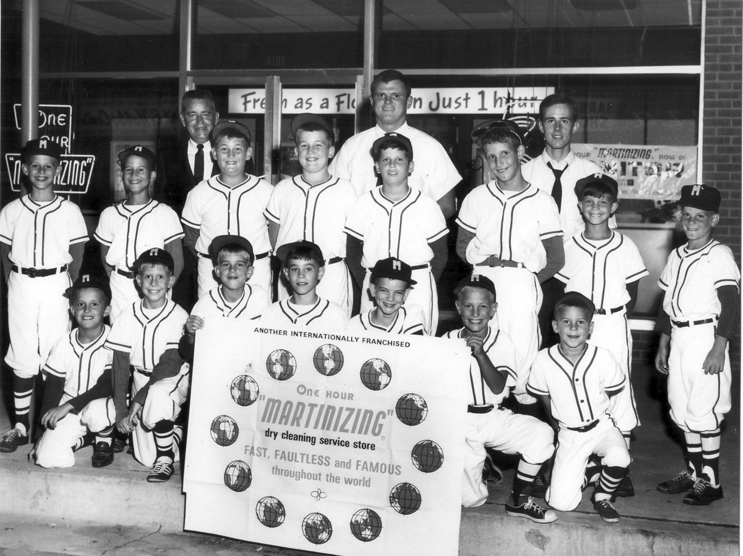 In the summer of 1963, Steve Jourdan (back row, right) coached his first baseball team at age 16 in the Whitehaven Baseball Association. During his coaching career, his teams have won 1,231 games and lost only 439. He coaches football, basketball and baseball at Bishop Byrne High School and this summer will coach the 18-year-old Memphis Tigers. This first team in 1963 was sponsored by One Hour Martinizing.