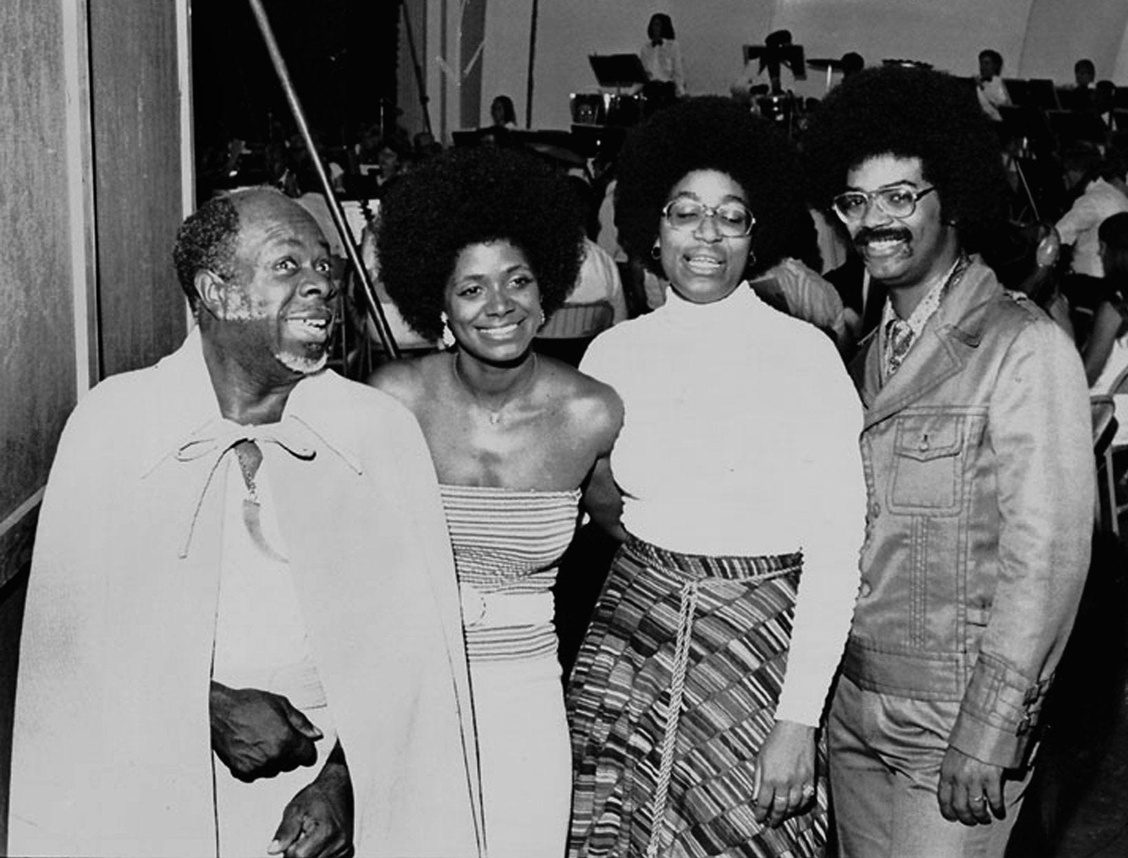 """(Left to Right) Rufus, Carla, Vaneese & Marvell Thomas gathered at the Overton Park Shell to perform before about 5,000 fans at an Arts In The Parks presentation on July 17, 1973. Rufus Thomas performed his """"Funky Chicken"""" and other dances that made him famous and Carla sang the songs that made her and STAX Records famous. Rufus Thomas died Saturday, Dec. 15, 2001 in Memphis, Tenn. He was 84."""