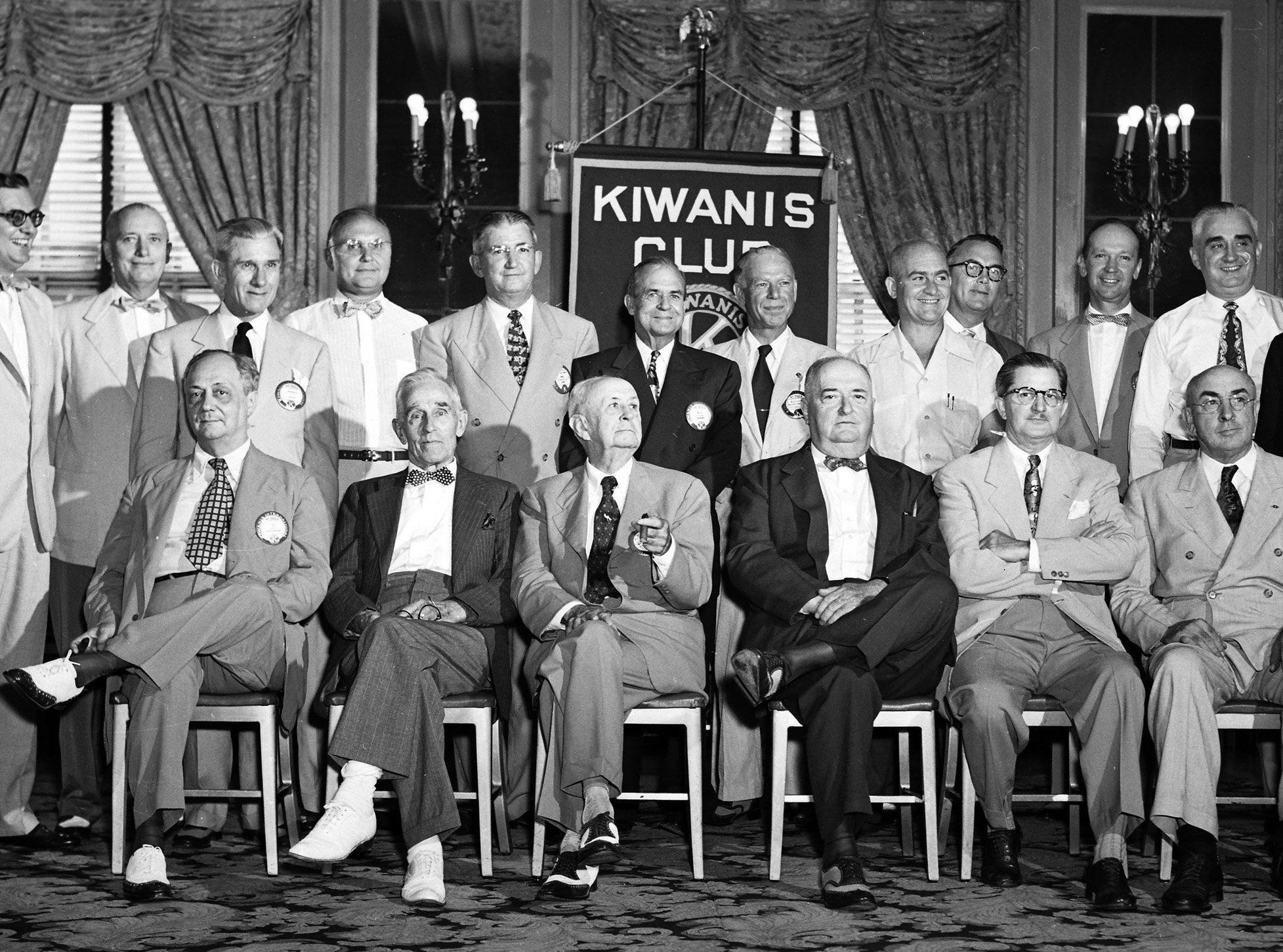 "Memphis Kiwanis Club paid tribute of its past presidents -- the group known affectionately at the ""petrified forest"" -- in an annual fun-filled program at the club luncheon at the Peabody on 15 Aug 1951. The group includes seated from left: Lee Winchester, president in 1918; J.H. Embry, 1921; Walton M. Busteed, 1924; Judge Samuel O. Bates, 1925; Dr. Thomas F. Leatherwood, 1929; and Dr. R.S. Vinsant, 1931. Standing from left: Raymond Skinner, 1933; Frank M. Grout, 1934; Kenneth C. Larkey, 1937, Leonard H. Dille, 1940; O.K. Earp, 1941, W.L. Sharpe, 1943, Russell E. Reeves, 1944, R.A. Trippeer, 1945; W.W. Scott, 1951; W. Arch Gaylor, 1946, C.W. Rosselot, 1948; and Blanchard S. Tual, 1949."