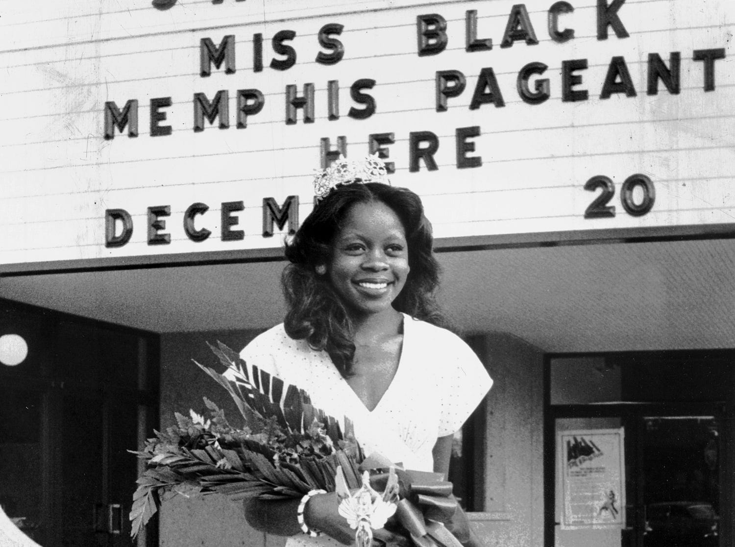 Twenty year-old Miss Ann Polk won the Miss Black Memphis Pageant on Dec. 20, 1975, at the Towne 11 theater. A student at Elkins Institute studying radio broadcasting, Miss Polk is the daughter of Mrs. Laura Watson of 2333 Dwight. She won over 16 other girls and will represent Memphis in the Miss Black Tennessee Pageant.