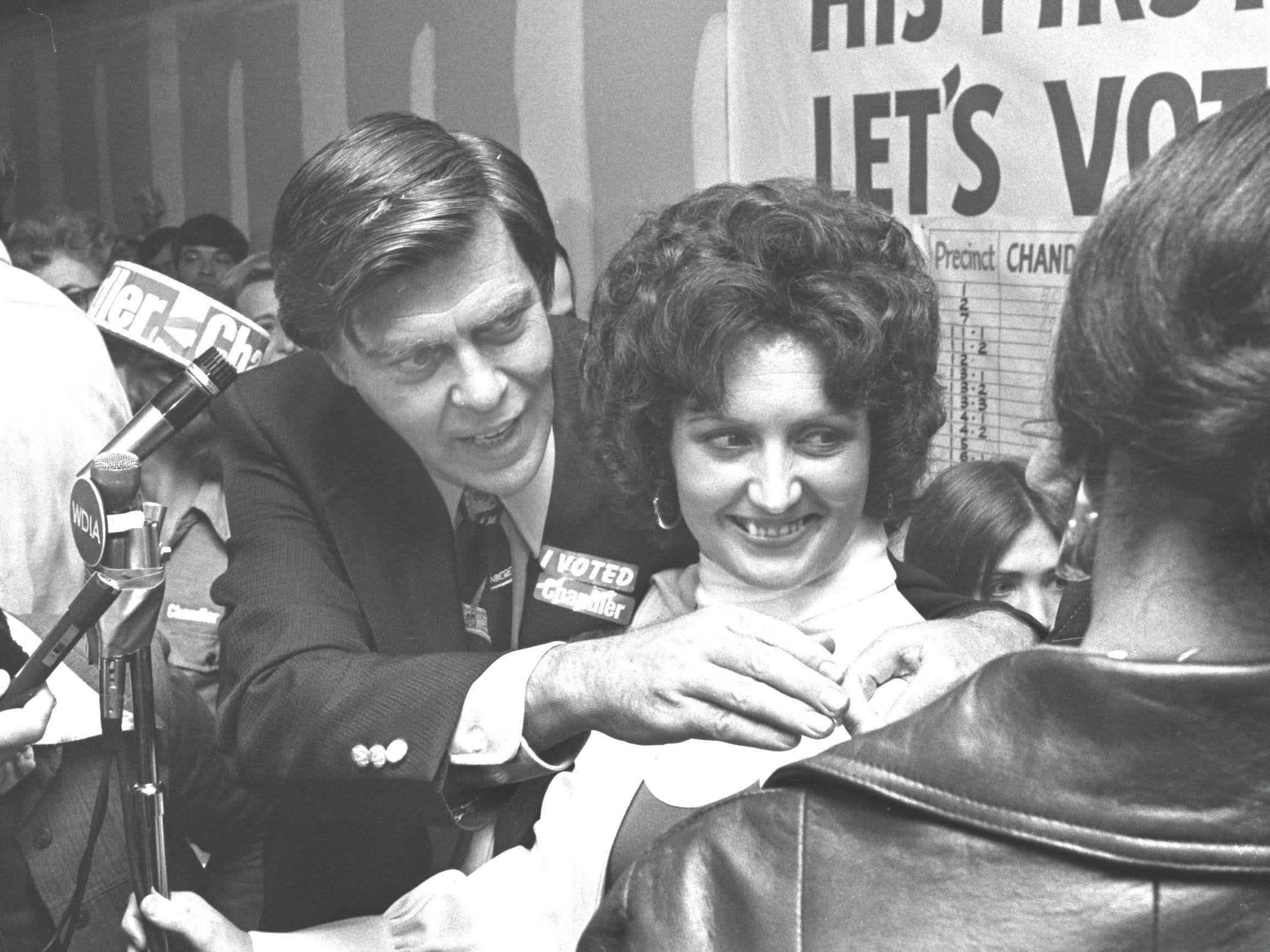 Mayor Wyeth Chandler and wife Linda receive congratulations after Chandler was elected to a second four-year term on 6 Nov 1975. He defeated former Criminal Court Judge Otis W. Higgs to become the first Memphis mayor to be elected to a second consecutive term since his father, the late Walter Chandler, was re-elected in 1944.