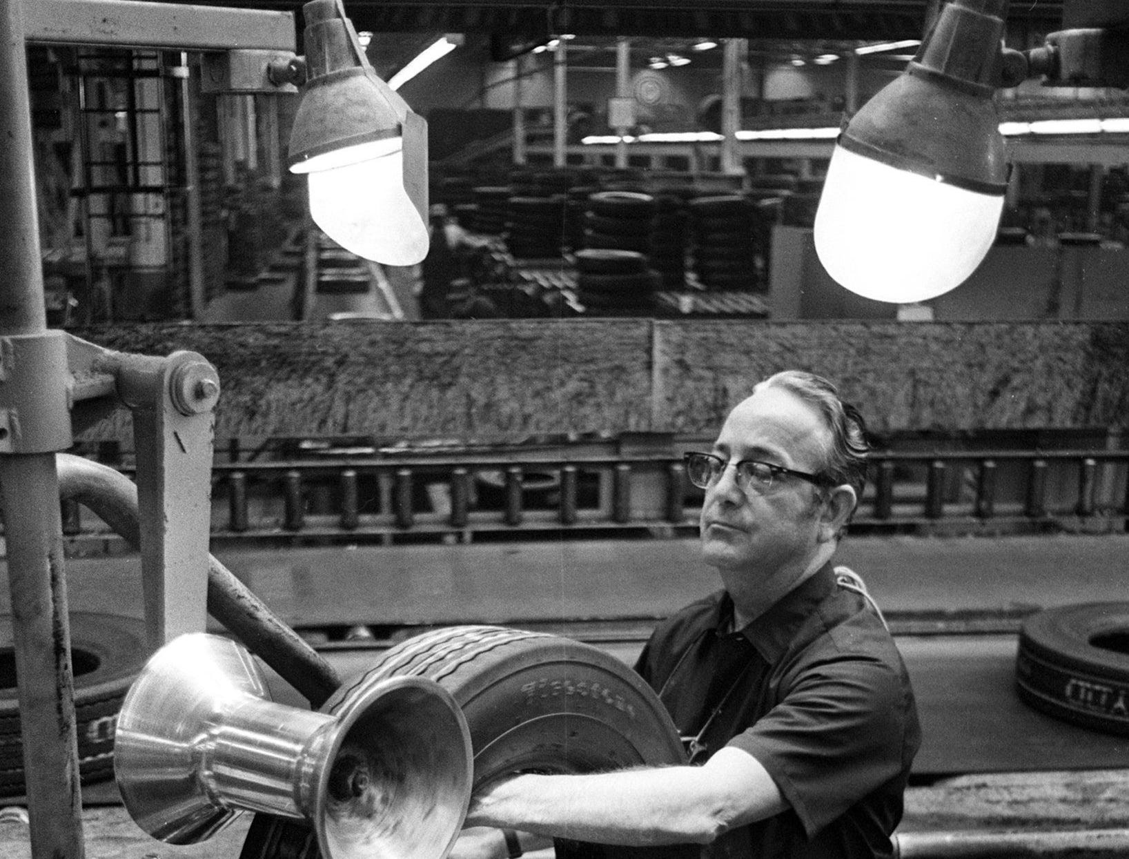 An inspector checks tires coming off the assembly line at the Firestone Tire & Rubber plant on 1 Dec 1972. The plant opened in 1937 and at one time employed approximately 1,600 people. At the time shut down proceedings began, there were approximately 1,000 employees. The plant, which had 1.4 million square feet and occupied 85 acres on Firestone, closed in March of 1983.  Dave Darnell/The Commercial Appeal An inspector checks tires coming off the assembly line at the Firestone Tire & Rubber plant on 1 Dec 1972. The plant opened in 1937 and at one time employed approximately 1,600 people. At the time shut down proceedings began, there were approximately 1,000 employees. The plant, which had 1.4 million square feet and occupied 85 acres on Firestone, closed in March of 1983.