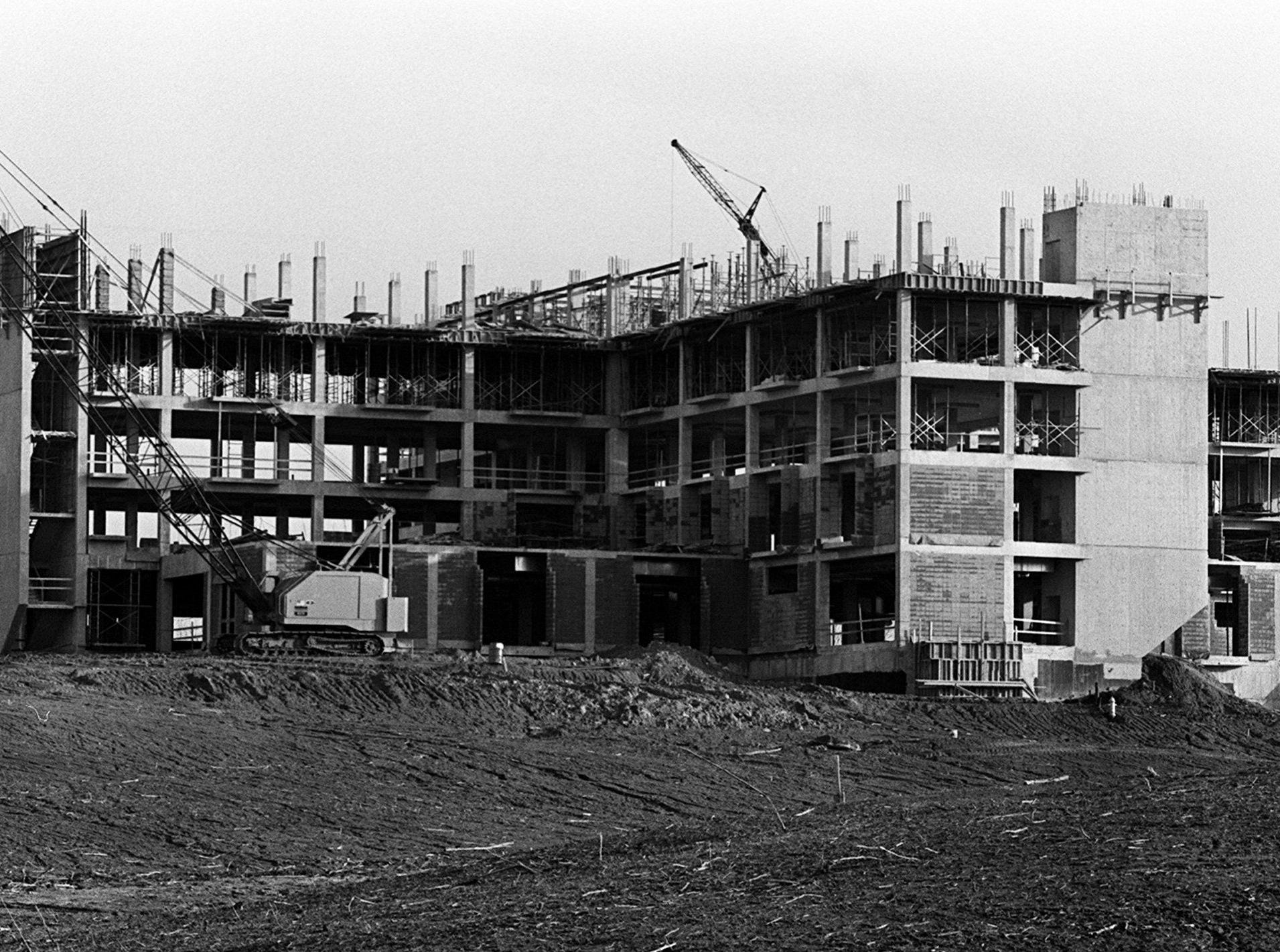 Methodist Hospital North is shaping up at 3960 Covington Pike on 4 March 1977. The hospital opened in July 1978.