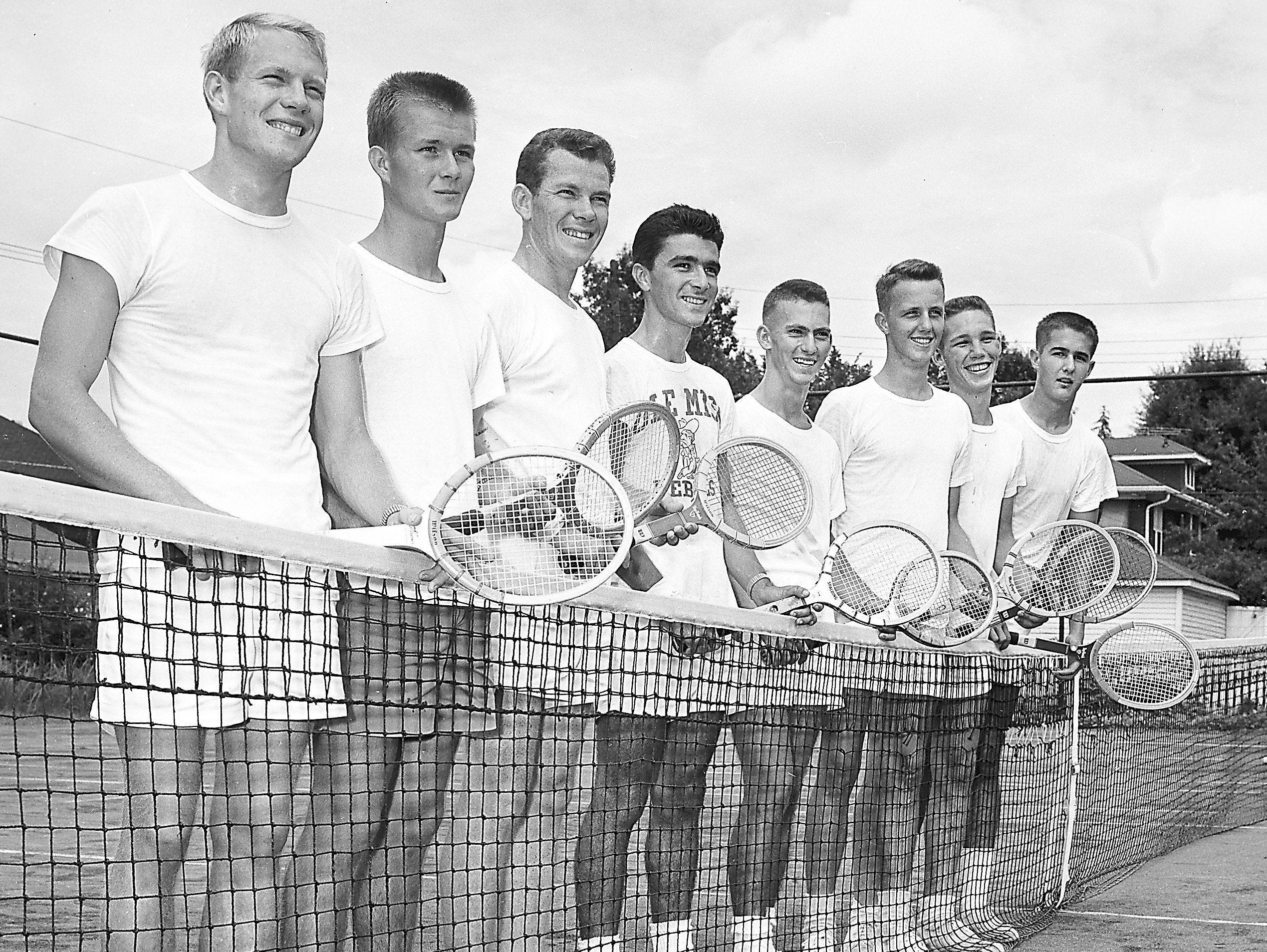 A strong field in the Mississippi Valley tennis tournament will come from Ole Miss. Entered in the meet to start on 12 Aug 1951 at Beauregard Park are, from left, Jack Milligan, Leighton Pettis, Clint Johnson, Howard Bishop, all of Oxford, Miss., Dick Briggs, Buddy Lomax, Meridian, Miss.; Tommy Eliott, Oxford, and Frank Quinn, McComb, Miss.