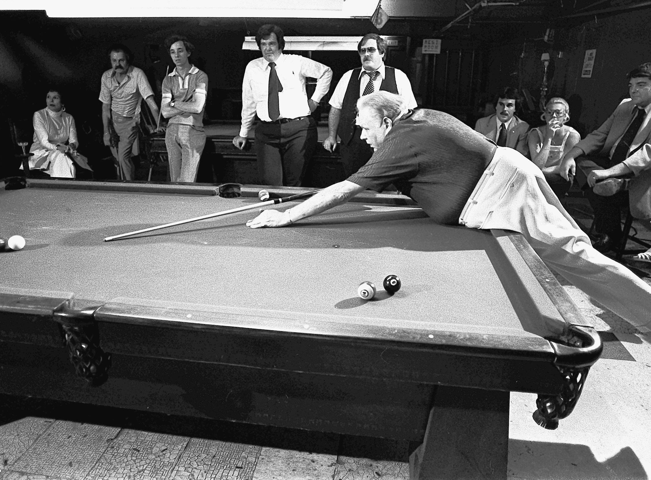There is little about Minnesota Fats that is small.  The pool shark from Dowell, IL does everything in a big way.  He tells tall tales, wild jokes and long stories about himself.  He worked his magic in a demonstration at Peoples Pool Hall at 8 North Second Street on 22 Aug 1978.