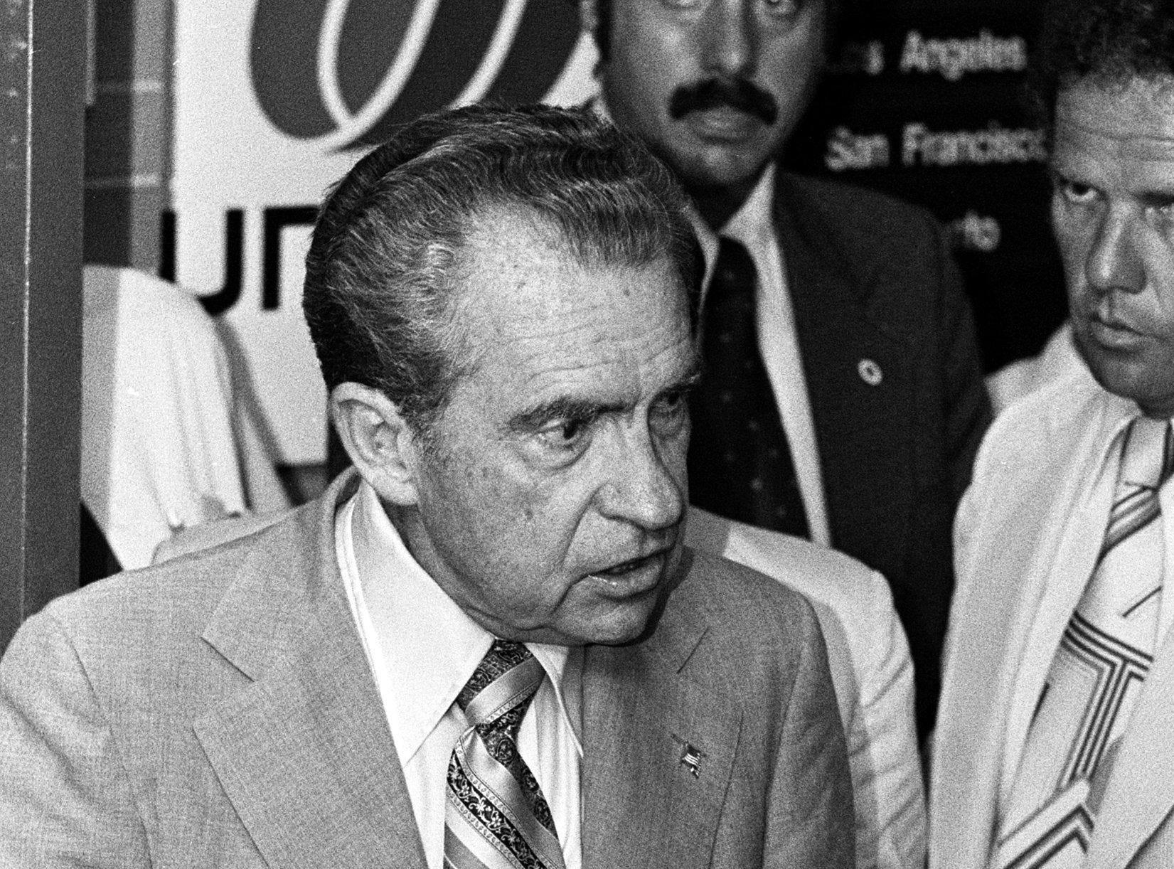 Former President Richard Nixon speaks to a crowd at Memphis International Airport on 2 Jul 1977.