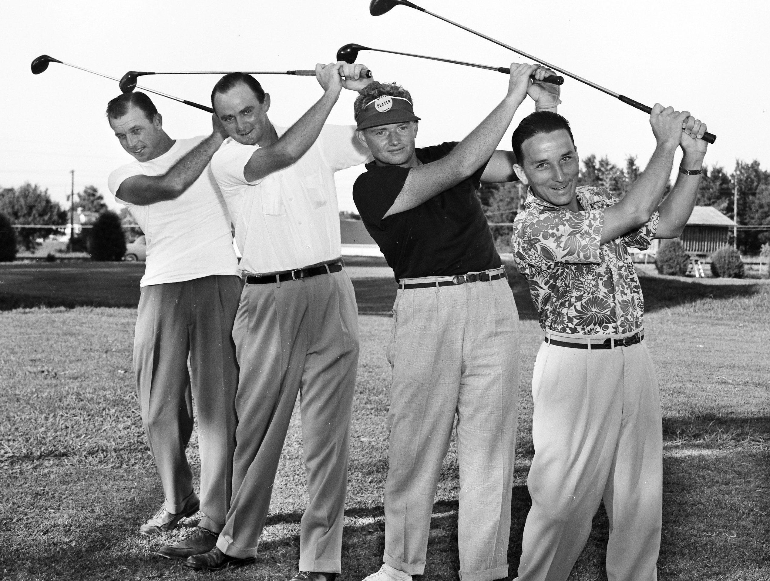 Eyeing the title in the Tennessee Amateur golf tournament at Colonial Country Club on 16 Aug 1951 are, from left, Ikey Sowell, Max Schwartz, Albert Stone Jr. and Jimmy Wittenberg. Stone is from Jackson and the others are from Memphis. They face a 36-hole grind for the title.
