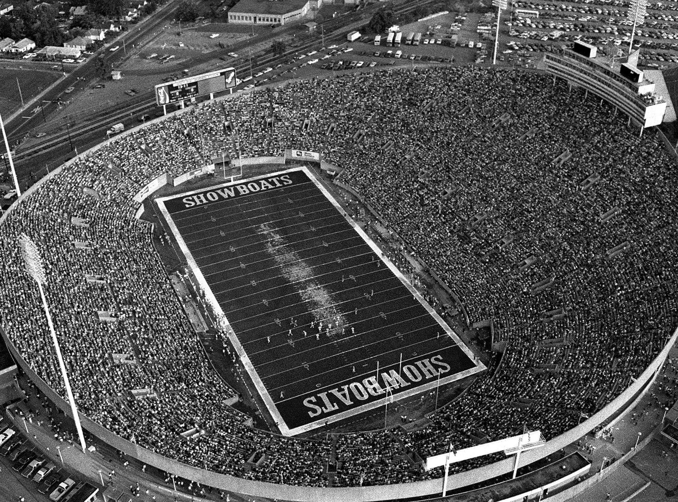 A sell out crowd of 50,079 (with 101 no-shows) looks on as the Memphis Showboats play the Birmingham Stallions on 16 Jun 1984 at Liberty Bowl Memorial Stadium. The game was the Showboats final home game of the season and the 35-20 Birmingham win left the Showboats with a 7-10 record heading into the season finale in Houston. The crowd was only the second sellout in USFL history. Pittsburgh sold out a game against Birmingham earlier in the season.