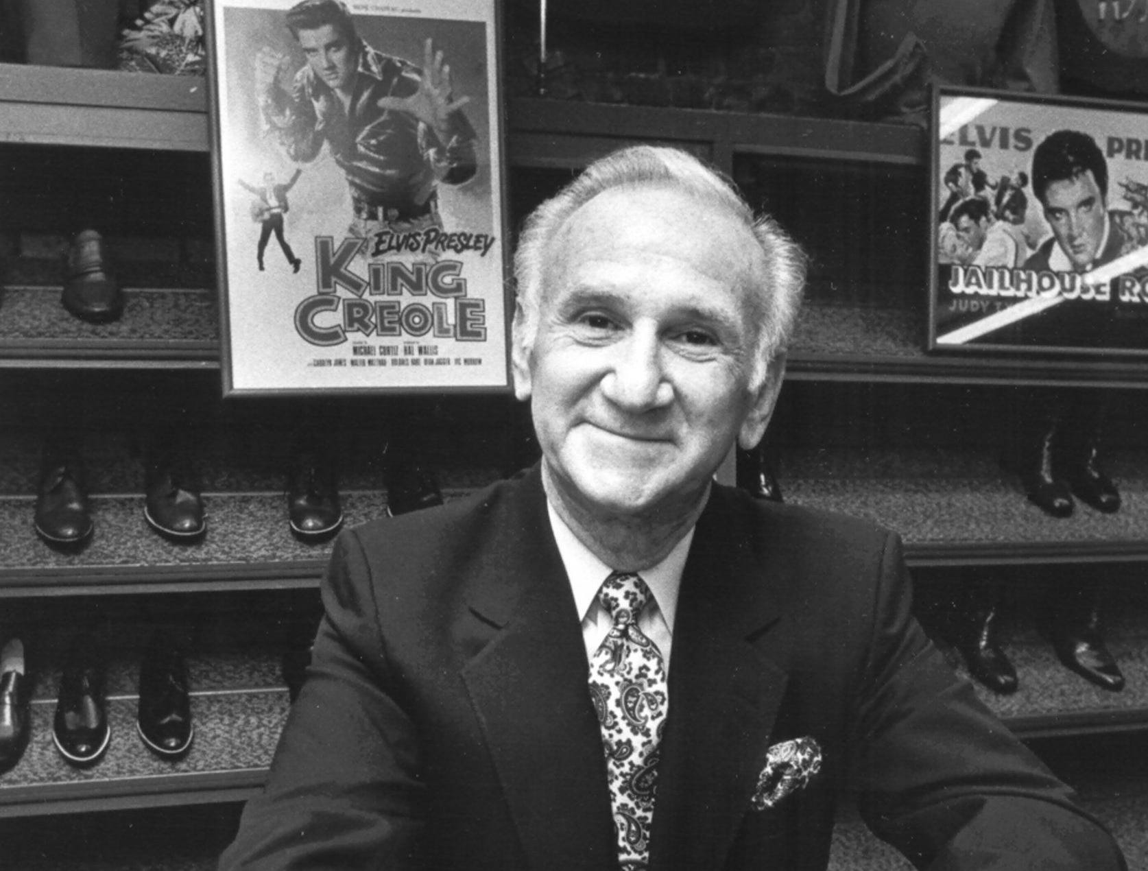 Bernard Lansky in his Beale Street clothing store on 1 Aug 1987.  Lansky sold clothes to a young Elvis Presley from this store in the 1950's.