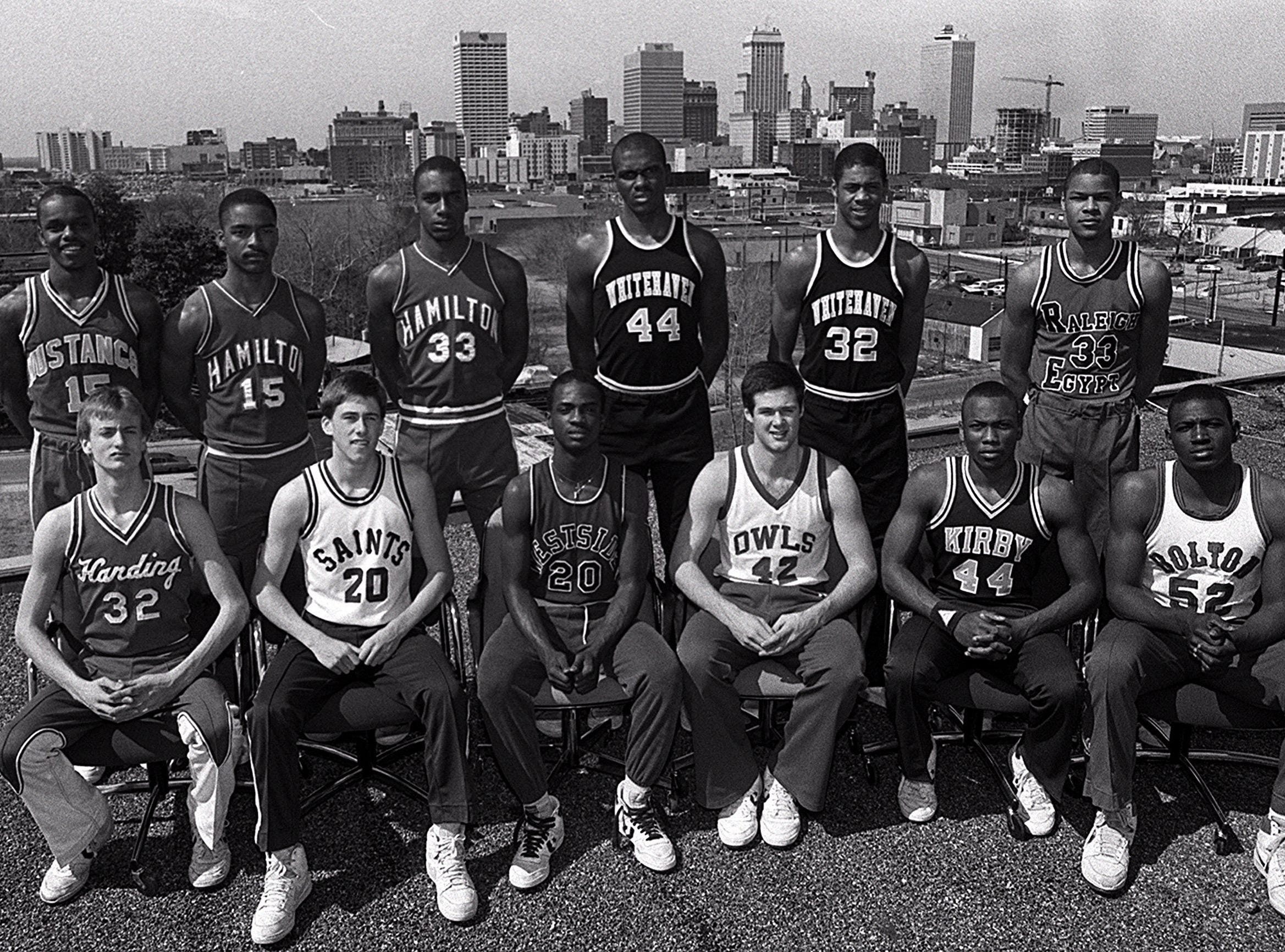 Comprising the 1985 All-MIAA team in the back row are (Left to Right) Greg Lockhart of East, Darrell Faulkner of Hamilton, Darrion Applewhite of Hamilton, Marvin Alexander of Whitehaven, Ron Huery of Whitehaven and Jewell Burton of Raleigh-Egypt. Up front on the All Shelby Metro team are (Left to Right) Troy Garrett of Harding, Keith Kessinger of Briarcrest, Roderick Watson of Westside, Jim Barton of MUS, Mark Short of Kirby and Sylvester Gray of Bolton.