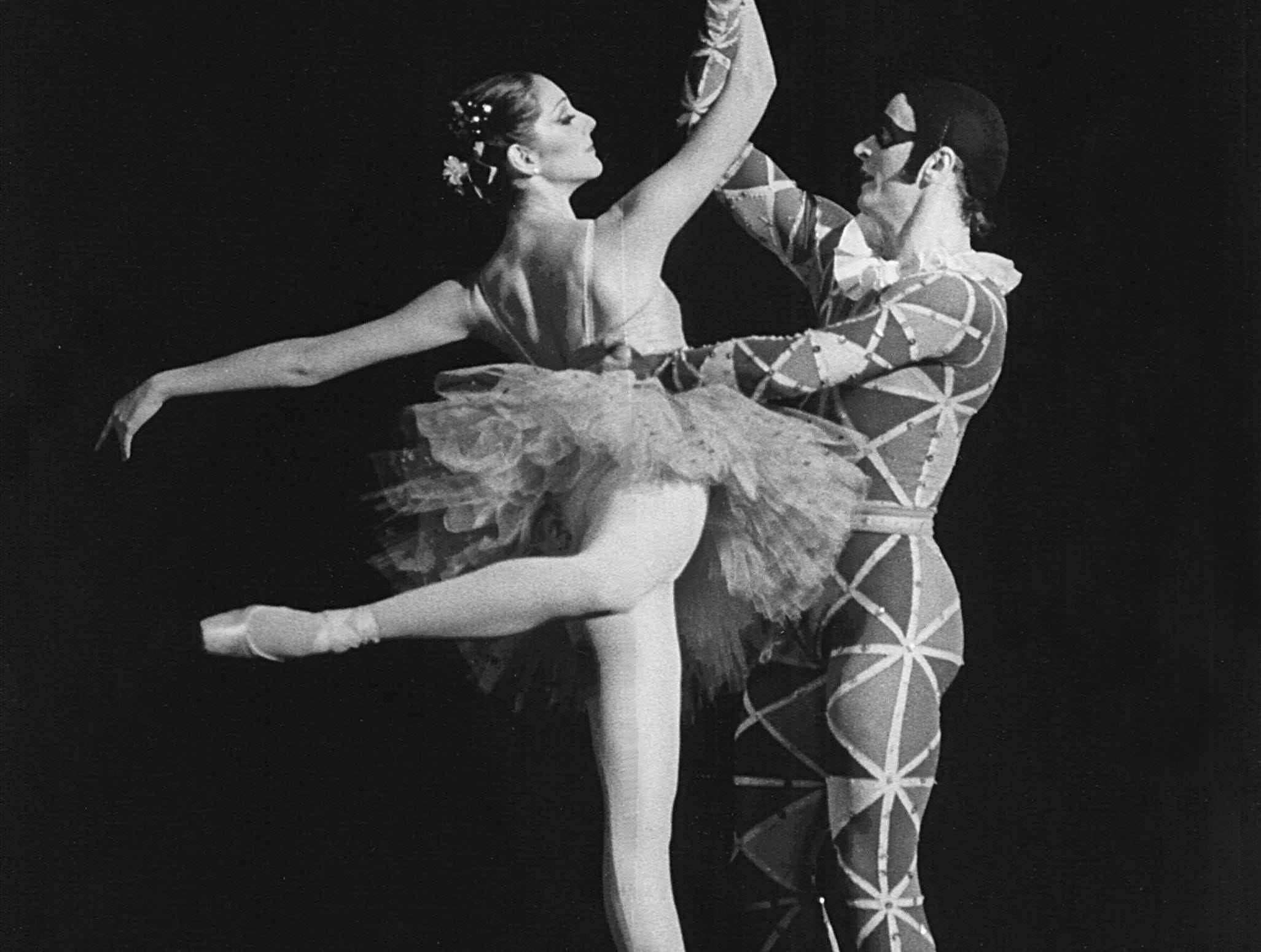 "Mikhail Baryshnikov and Cynthia Harvey in ""Harlequinade"" at The Auditorium Dixon-Myers Hall was only part of dance program the famed Russian presented on 16 Jun 1981 with his American Ballet Theatre group. Baryshnikov performed in this and one other pas de deux in the repertory program of a dozen works excerpted from larger-scale ballets. The 4,361 seat hall was sold out by late afternoon."