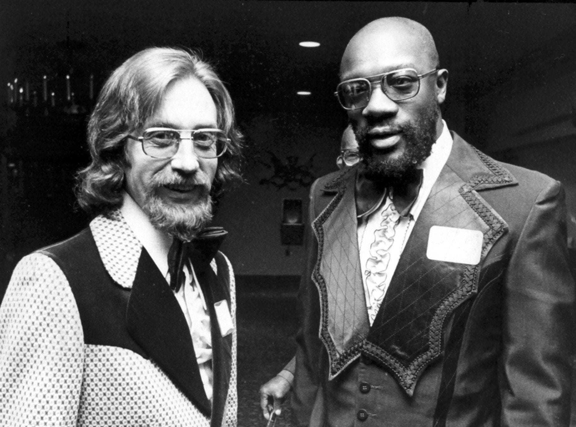 """STAX president James Stewart (Left) was on hand to congratulate Isaac Hayes on 14 Nov 1972 as Hayes was honored for writing the most performed rhythm and blues song of 1971. The honor was awarded for the """"Theme From Shaft"""" and was bestowed during the Broadcast Music, Inc. presentations at the Holiday Inn-Rivermont."""