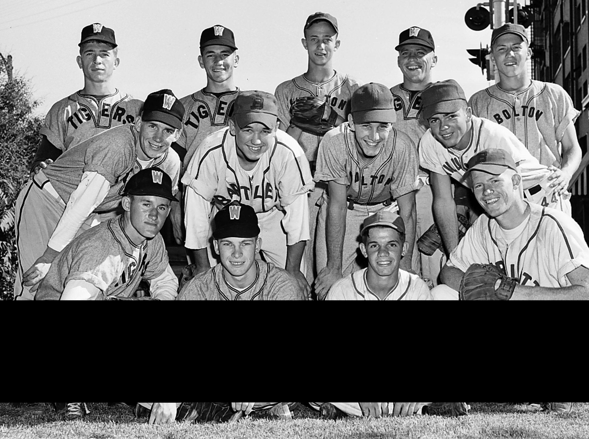 These 13 youths were the cream of the baseball crop in the Shelby County Prep league in the Spring of 1953 and are recognized on the 1953 All-County team. The are from left: (Front Row) Bill Baker, Whitehaven catcher; Bobby Walsh, Whitehaven pitcher; Carroll Rast, Millington pitcher; and David Cunningham, Bartlett catcher. Second Row: Billy Ray Dawson, Whitehaven ourfielder; Joe Stalls, Bartlett outfielder; Snowden Harrell, Bolton outfielder; and Charles Forbes, Millington outfielder. Back Row: Jamie McRae, Whitehaven shortstop; Tommy Keough, Collierville pitcher; Leonard Biggs, Whitehaven third base; Bobby Williams, Bolton utility, Jackie Hollie, Whitehaven second base and Harry Nicholson, Bolton first base.