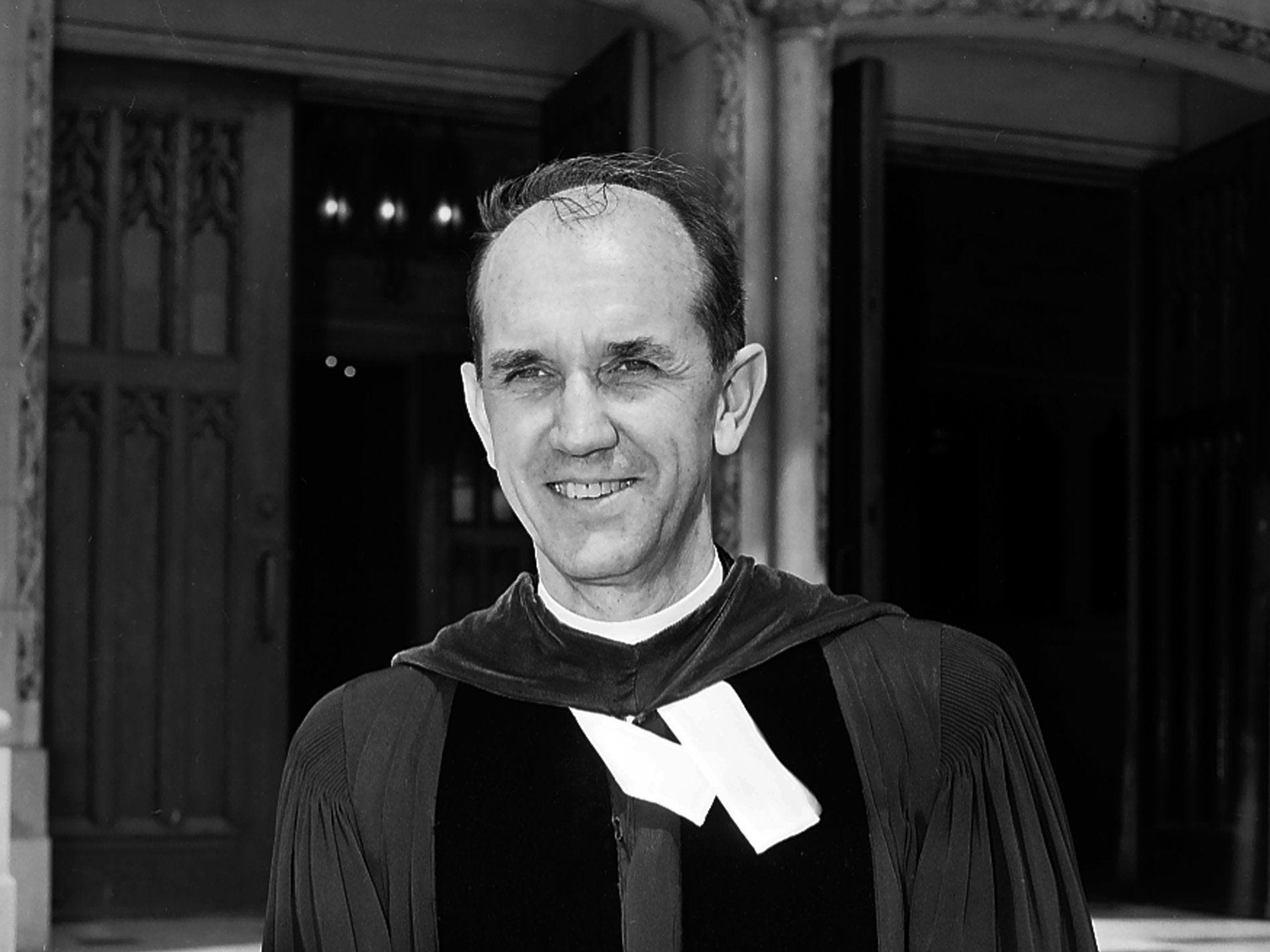 Dr. Paul Tudor Jones, pastor of Idlewild Presbyterian Church stands in front of the church, located at 1750 Union Avenue in April 1965. Born in Corinth, MS in 1909, he attended Southwestern at Memphis, graduating in 1932. He received theological degrees from Louisville Seminary and Union Seminary and began his ministry by serving small churches in Tchula and Lexington, MS. After serving churches in several states he moved to Idlewild in 1954, where he stayed until his retirement in 1975. Dr. Jones died on 27 Dec 1999.